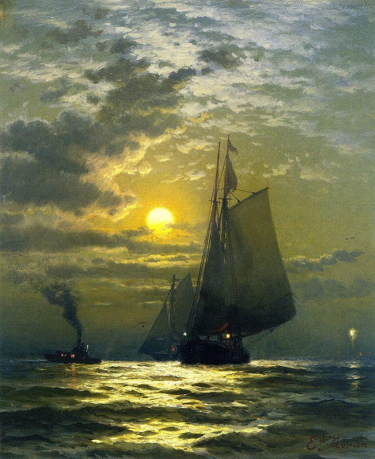 British/American painter Edward Moran (1829 - 1901) 'Sailing by Moonlight NY Harbor'
