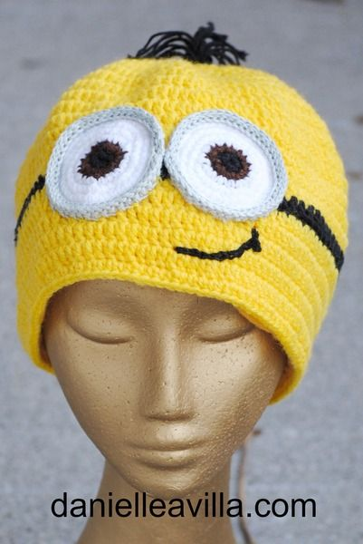 Gehäkelte Mütze Minion mit Thermofutter -mit Haare von Danielle Avilla - Häkel mit brasilianischen Stil auf DaWanda.com