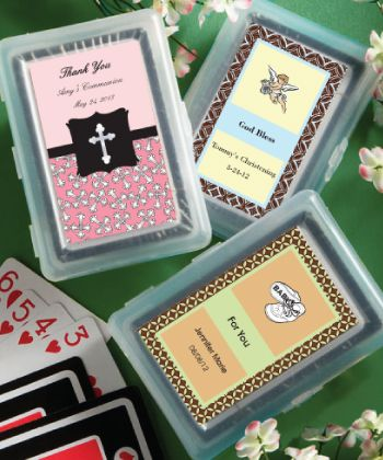 Playing Card Favors - With Personalized Box Make your shower special with these personalized playing card favors. A fantastic addition to any event, each of these unique favors contains a full deck of cards held within a molded plastic case that opens like a book. http://www.favorfavorbaby.com/p-6704ST.htm
