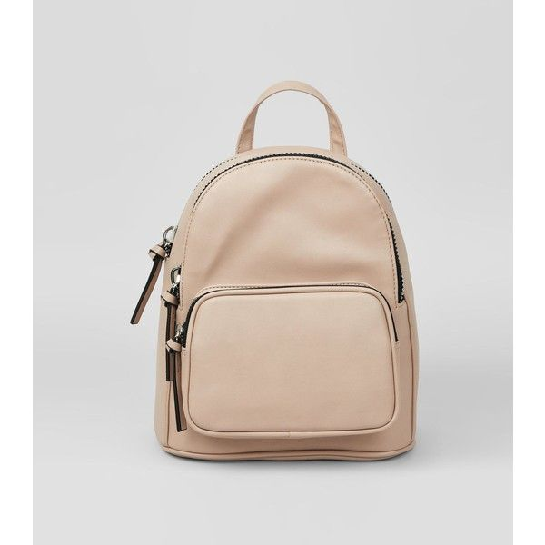 Shell Pink Chunky Zip Mini Backpack ($26) ❤ liked on Polyvore featuring bags, backpacks, shell pink, mini rucksack, zipper bag, single strap backpack, zipper backpack and pink backpack