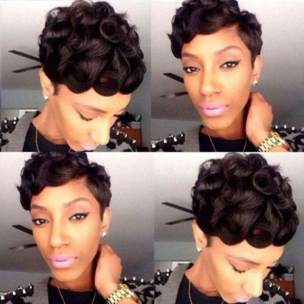 100% Unprocessed Human Hair Short Wigs For Black Women Non Lace BoB Wigs  Natural Color Machine Made Wigs Rachel Welch Wigs Glueless Lace Wig From ... 344fc2887