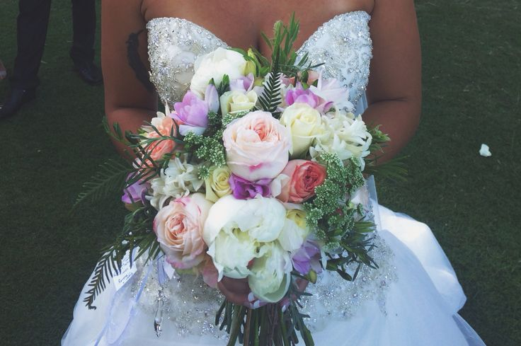 Hockley wedding, a bouquet made for my dear friend on her wedding day. Filled with cottage roses, peonies, queen annes lace, freesia's, hypericum berry, hyacinths and foliage from my garden