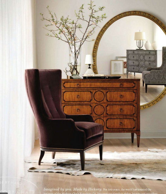 Attractive Hickory Chair Elliott Wing Chair, Artisan Curved Front Chest With Overlay  In Mahogany (front