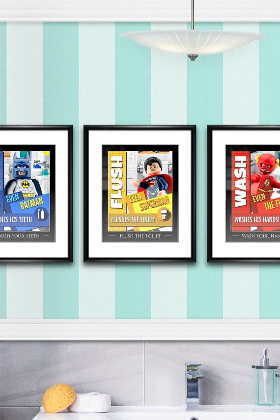 Superhero LEGO bathroom signs remind the kids to flush, wash and brush. Perfect for a superhero-loving LEGO home. (affiliate)