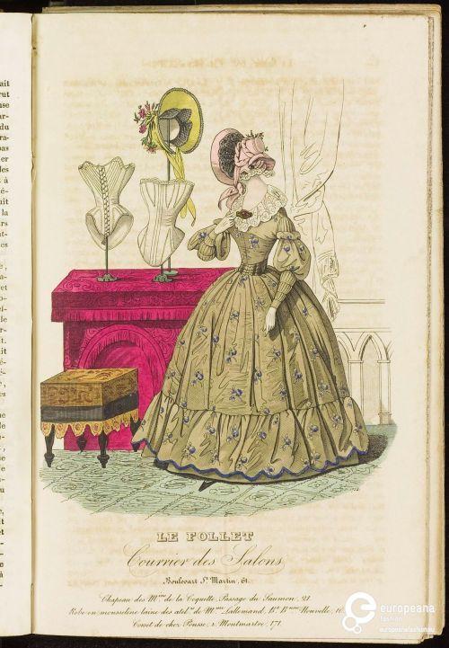 Fashion print from 1838. Le Follet Courrier de Salons ModeMuseum Provincie Antwerpen