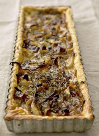 Caramelized Onion, Thyme and Taleggio Cheese Tart recipe on http://www.nomu.co.za/recipes