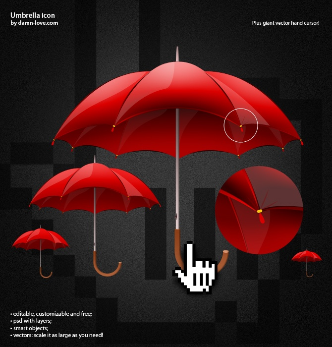 RunPlusDesign: mobile lifestyle, running and design: Umbrella icon by damn-love.com / psd freebie