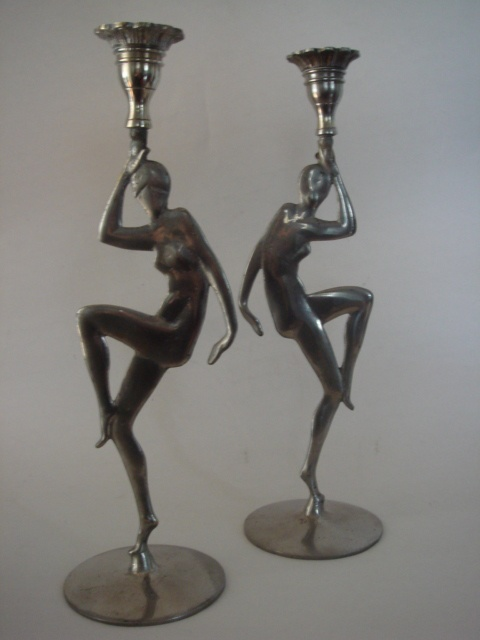Lovely Art Deco candlesticks. OMG! I would so love to yarn ...