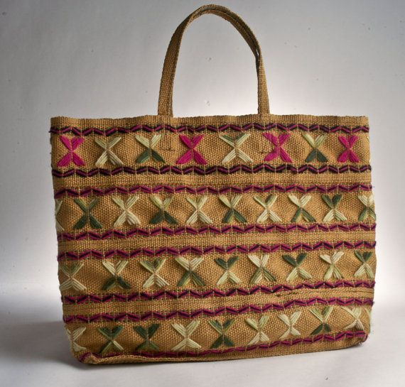 Vintage embroidered burlap purse tote bag pink green by FireLake