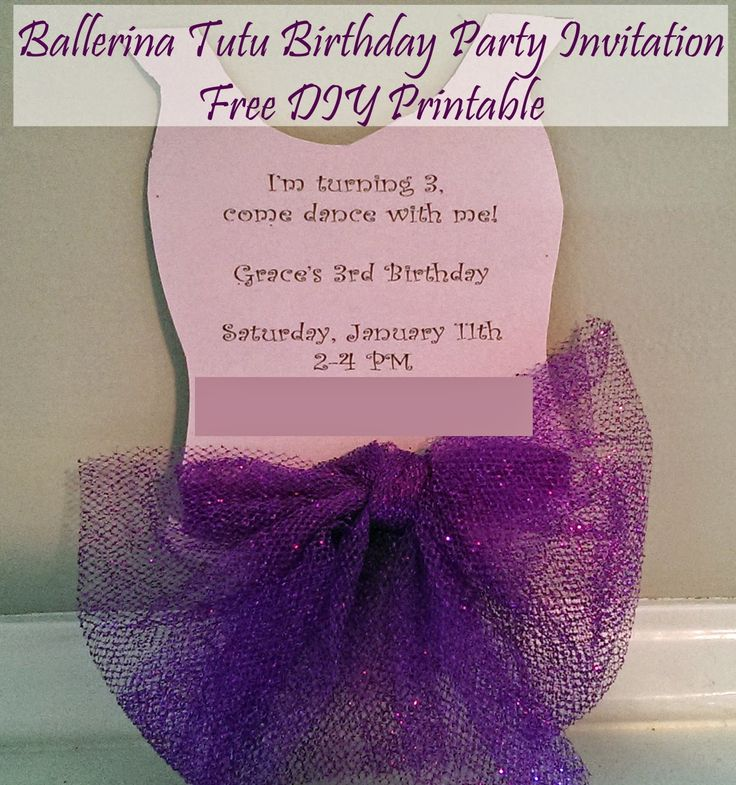 design birthday party invitations free%0A Ballerina Tutu DIY Party Invitation Free Printable