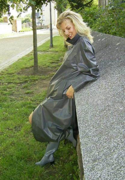 Grey Rubber Raincoat