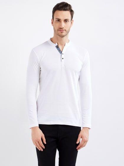 53c9b1280f0 Full sleeve Solid Henley Neck White T-Shirt Buy T Shirts Online