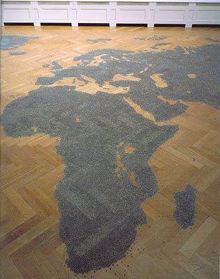 Mona Hatoum Map, 1998  glass marbles, Basel.