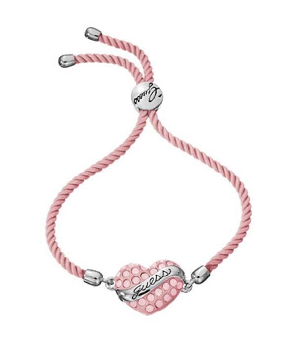 Guess Bracciale in corda e cuore rosa UBB21219 GioielliVarlotta