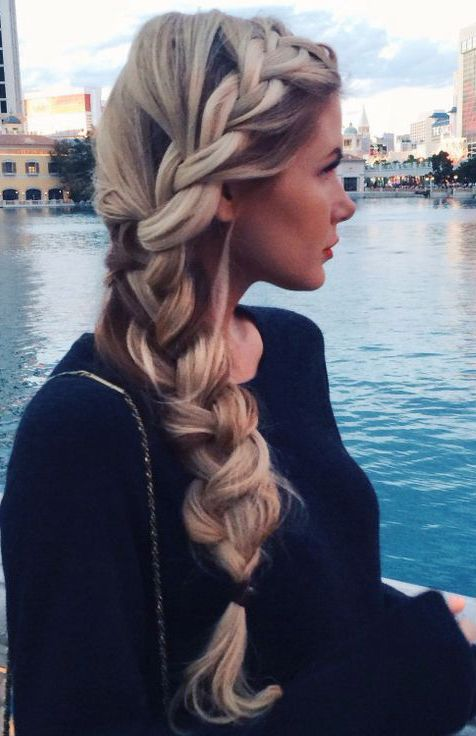 Beautiful side braid!  Amazing thick hair! Perfect hairstyle for summer! Women's teen hair