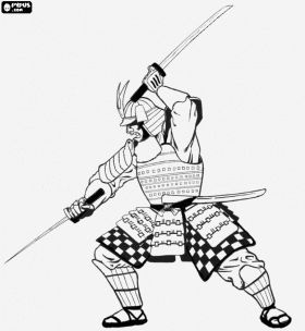 coloring pages of a samurai warrior | Samurai warrior with the armor, the helmet kabuto and ...