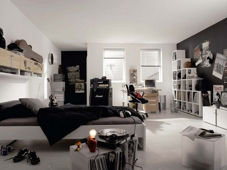 Bedroom Top 10 Cool Kids And Teens Design Ideas Elegant Black White Teenage Boys With Free Standing Bookshelf Beautiful