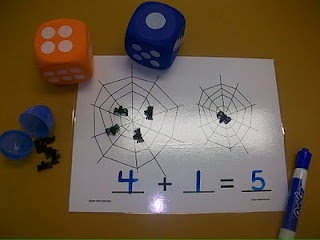 First Grade School Box blog: Math Centers...free printables...Addition spider egg/web game