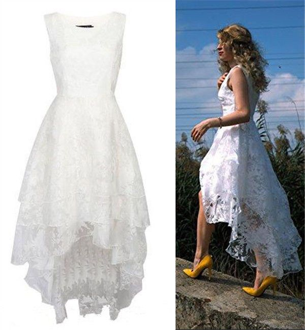 2016 Floral Lace High Low Rustic Wedding Gown Long Short Boho Beach