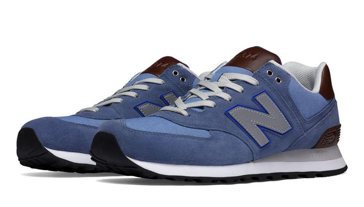 New Balance 574 Cruisin in Chambray with Grey & Tan ($80)
