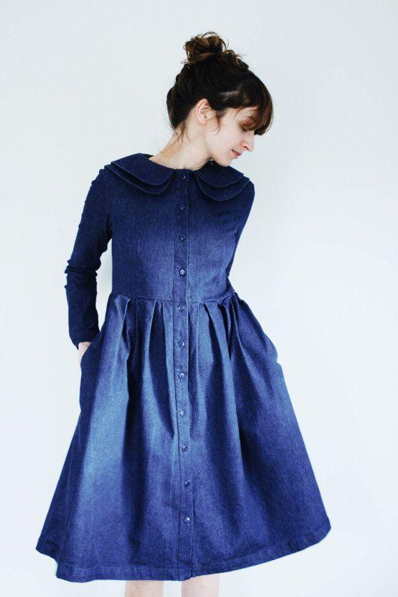 Jeans Kleid  Indigo Dress  doppelter Kragen Kleid  volle von OffOn