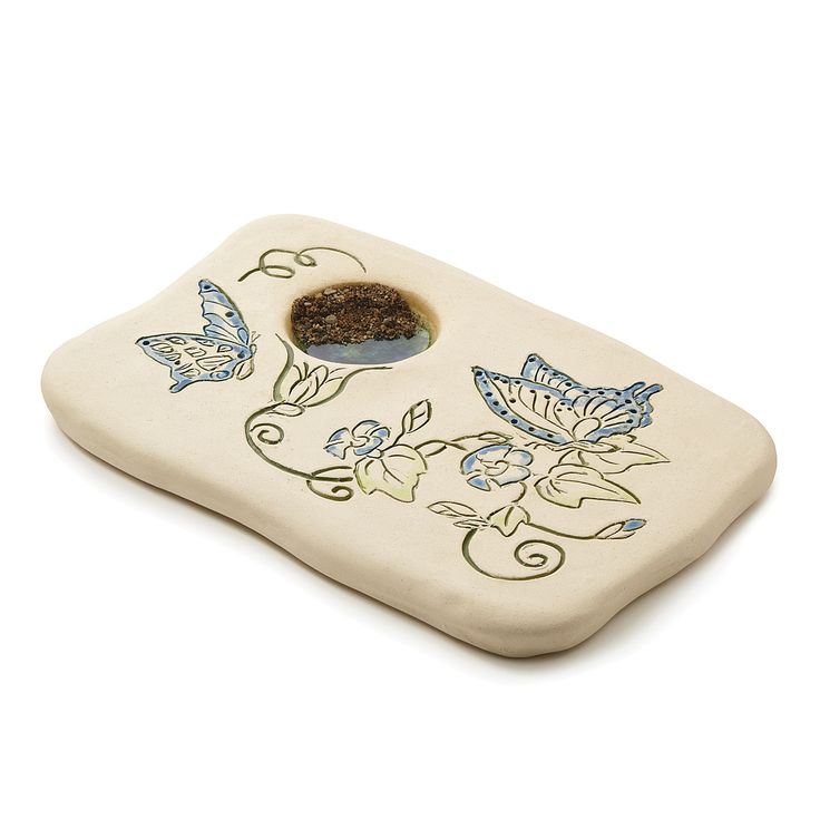 MORNING GLORY BUTTERFLY PUDDLER   Stoneware Garden Decor   UncommonGoods