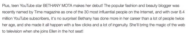 BETHANY WILL BE ON THE ELLEN SHOW APRIL 7TH!