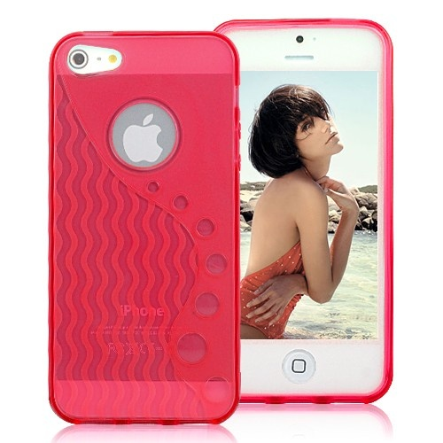Stylish Wave-like Pattern Matte TPU Case For iPhone 5 - Transparent Red