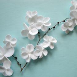 white felt flowers