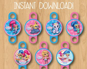 Shimmer and Shine Birthday Straw Toppers  INSTANT DOWNLOAD