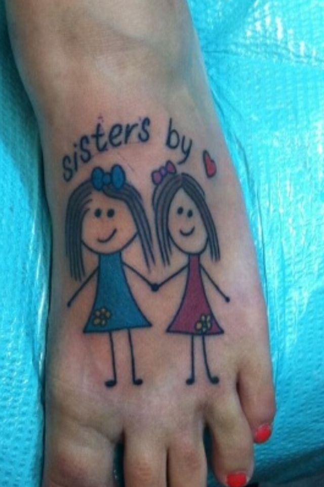 Tattoo. Stick figure. Girl tattoo. Best friend tattoos. Stick figure tattoo. Sisters by heart. BFF's. Foot tattoo.