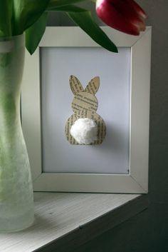 Prenez un joli cadre, mettez-y un lapin (imprimé, dessiné par vos soins, fait avec un collage comme sur la photo ci-dessous...), collez-lui un petit pompon en guise de queue... et vous obtiendrez le tableau lapin le plus mignon du moment :-)