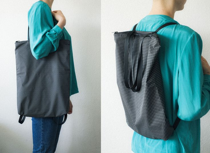 handmade backpack / tote made out of light water-repellent dyneema gridstop. black and white.