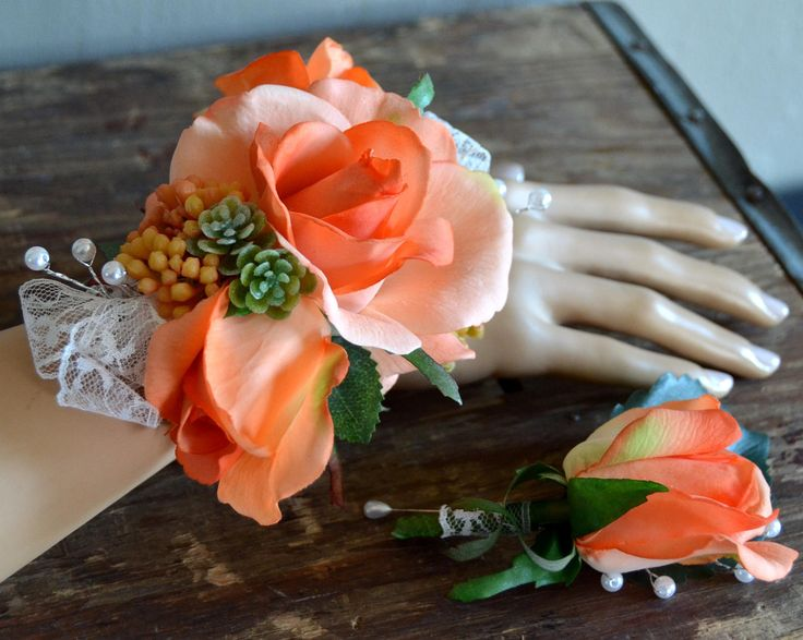 Corsage and boutonniere set;prom;wedding;formal;rose;peach;coral;orange;succulent;wrist;bracelet;adjustable;lace;pearl;silk;faux;artificial by BumblebeeAndThistle on Etsy