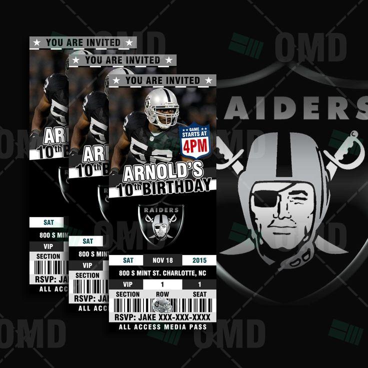 25x6 Oakland Raiders Sports Party Invitations 10