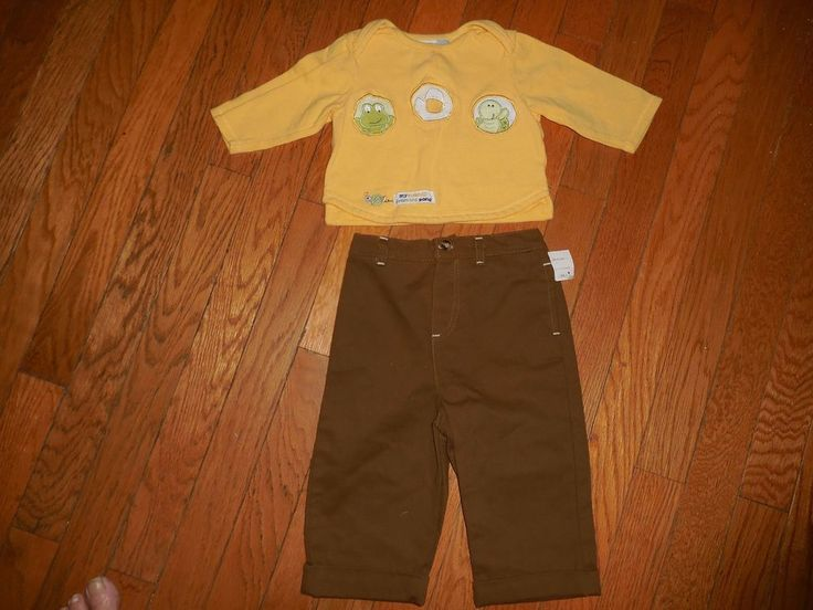 Boys Outfit Yellow Top Shirt Brown long Pants Size 6/9 Months NWT New fall #CradleTogsVitaminbaby