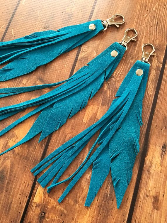 Fringe Leather Key Chain /  Leather Key Chain / Feather Key
