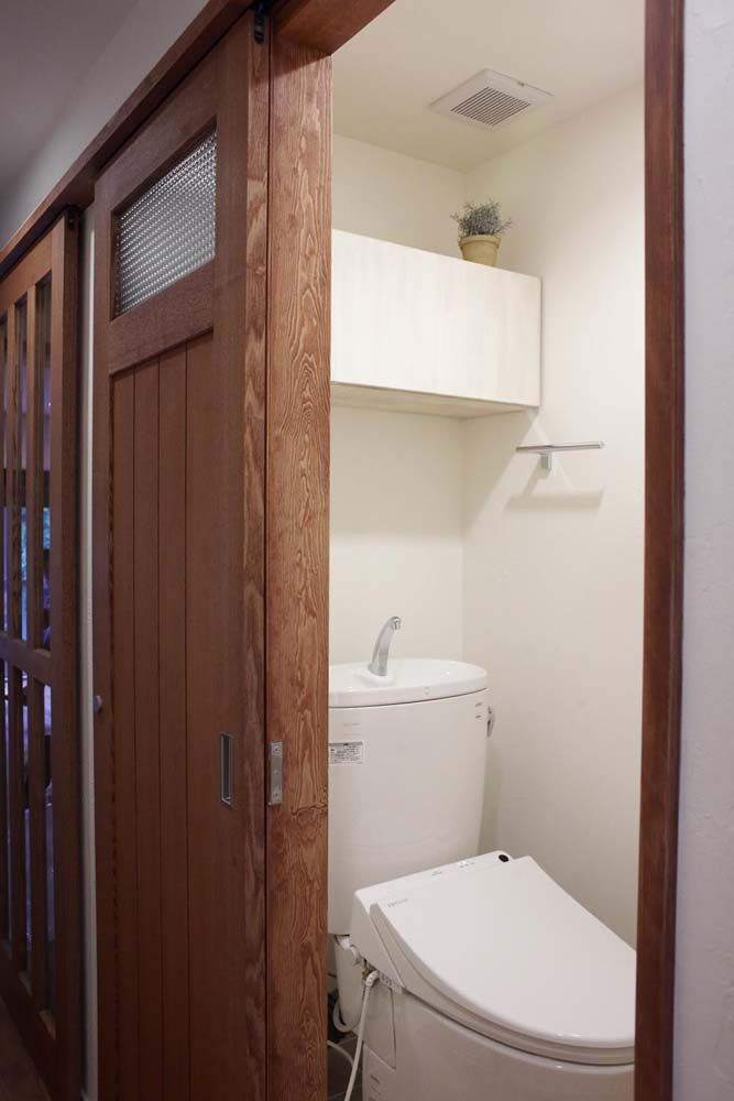 トイレ タモ材 突板 ガラス 建具 造作 オリジナル 引き戸 スタイル工房 画像あり 室内装飾 家 引き戸