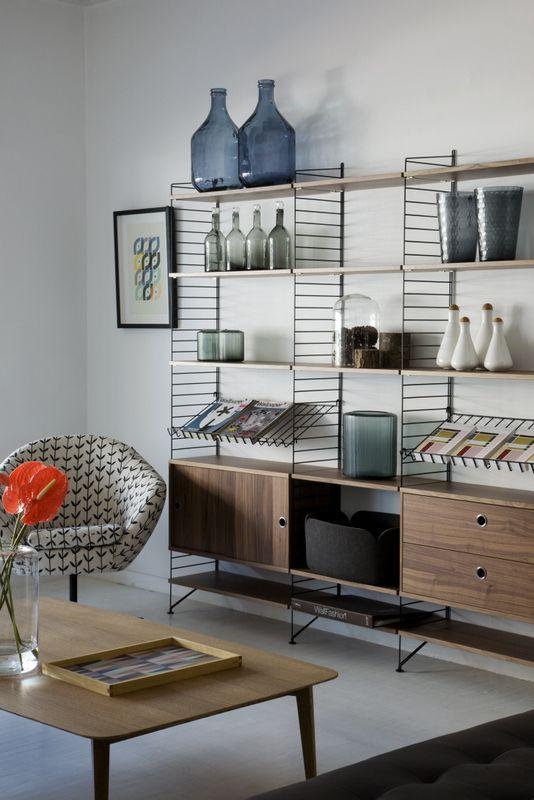 String bookshelf, retro coffee table & vintage chair