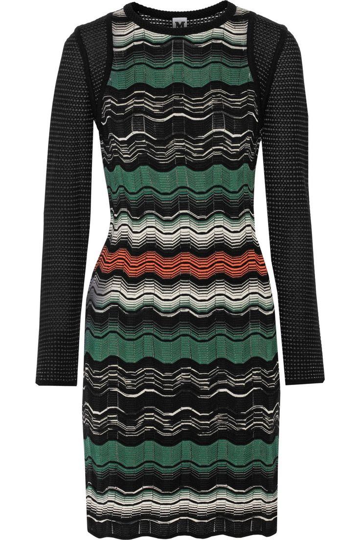 M Missoni Paneled Crochetknit Dress in Green (Black)   Lyst