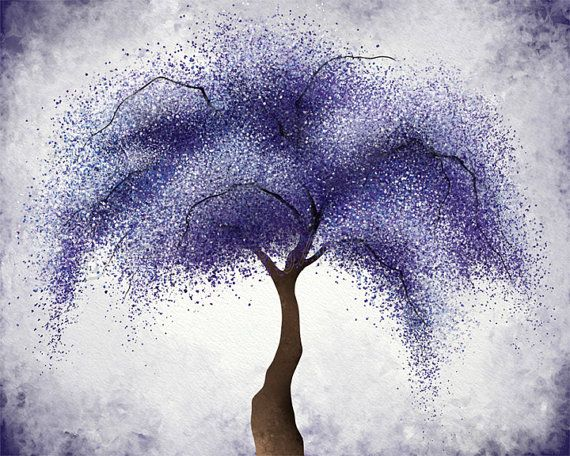 Dark Purple Violet Abstract Tree Wall Art 8 x 10 Print, Willow Tree Home Office Wall Decor (276)