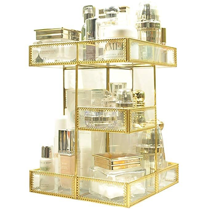 360 Degree Rotation Makeup Organizer Antique Countertop Cosmetic