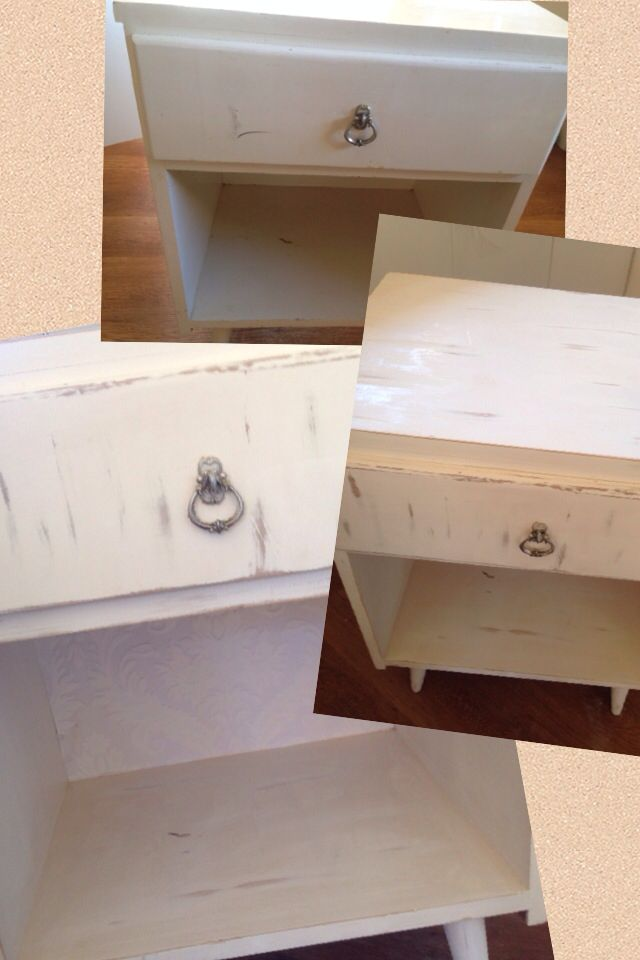 White bedside cabinet  Upcycled - distressed and wallpaper backing added :)