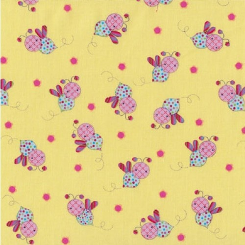 Bees On Yellow Little Menagerie Quilt Fabric From Sarah J