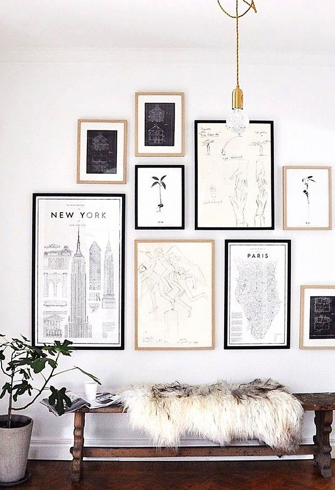 19 Tips For Creating A Gorgeous Black And White Gallery Wall In