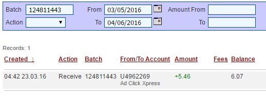 Withdrawal Proof from Ad Click Xpress. I get paid daily and I withdraw daily. Online income is possible with ACX, who is definitely paying - no scam here. This program can be a life-changer for so many people. Good things happens every day with Ad Click Xpress, system is so incredibly powerful. If you are a PASSIVE INCOME SEEKER, then Ad Click Xpress is the best ONLINE OPPORTUNITY for you. Join and increase your income with ACX, you'll like it. http://www.adclickxpress.is/?r=2skgbgyth3z&p=aa