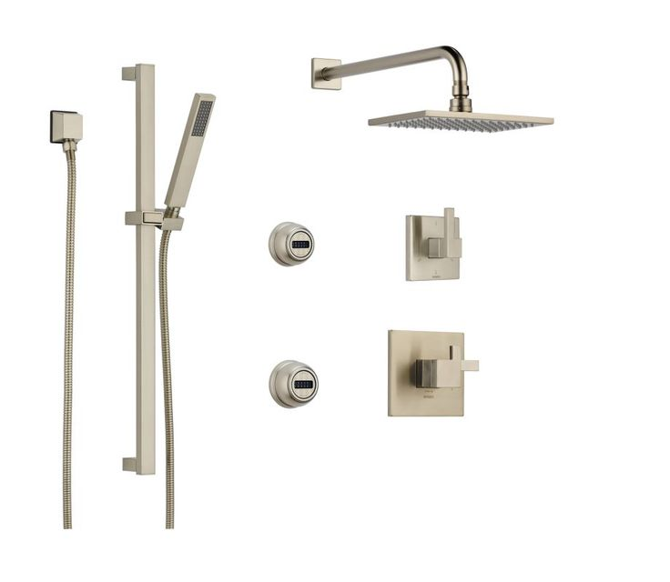 Brizo BS945 Thermostatic Shower System with Rain Shower Head Hand Shower with S Brilliance Brushed Nickel Faucet Shower System Double Handle