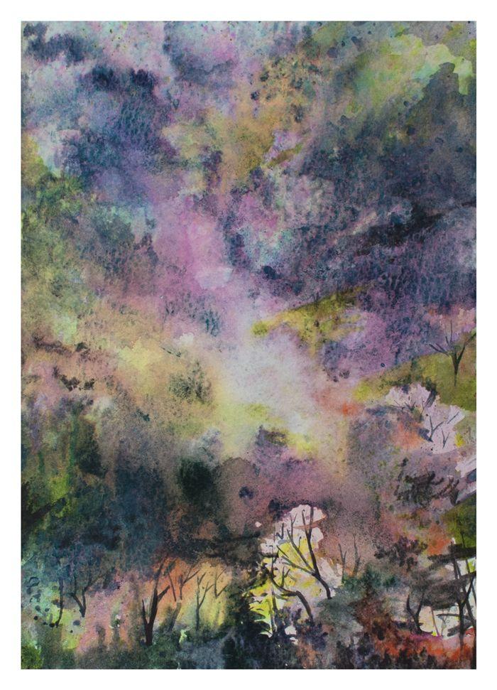 Hanami I   Anna Chmiel #tree #watercplor #painting #annachmil #japan #art #abstract #landscape #watercolor #painting #anna_chmiel #malarstwo #krakow #hanami #danielsmith #danielsmithwatercolors