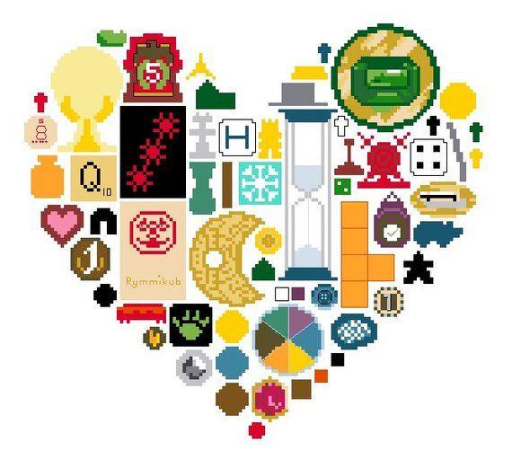 I Love Board Games Cross Stitch Digital Pdf Pattern Cross Stitch