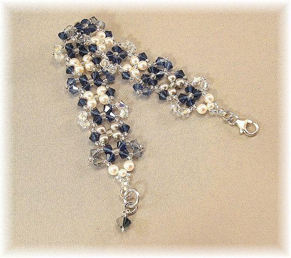 Bracciale polsino blu navy Blend matrimoni di BridalDiamantes